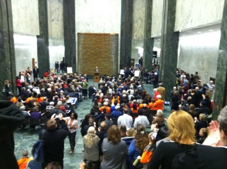 Librarians from across the state gather in Legislative Well to hear Sen. Hugh Farley