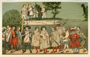Year 1520, group of touring minstrels performing in Augsburg